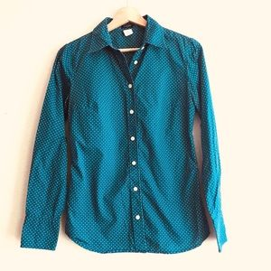 J. Crew blue green polka dot button down shirt